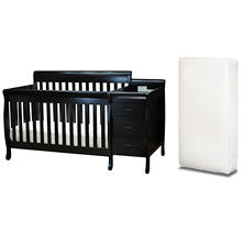 AFG Kimberly 3-in-1 Crib, Changer with Toddler Rail and Deluxe Mattress, Black