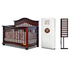 AFG Lia 4-in-1 Convertible Crib with Mattress and Guardrail, Cherry