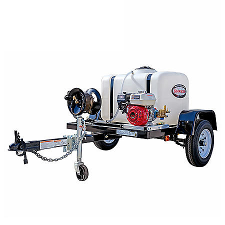SIMPSON 3200 PSI at 2.8 GPM HONDA GX200 with CAT Triplex Pump Industrial Gas Powered Pressure Washer Trailer