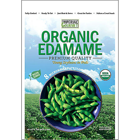 Imperial Gourmet Organic Edamame Single Servings, Frozen (8 bags)