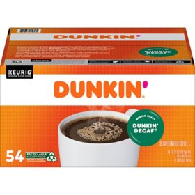 Dunkin' Donuts Decaf Coffee K-Cups, Medium Roast (54 ct.)