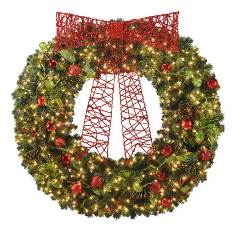 """60"""" Pre-Lit Holiday Wreath with Clear Lights"""