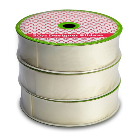 """1.5"""" Satin Ribbon Professional Quality  - Woven Ivory (3 pk., 50 yds. each, 150 yds. total)"""