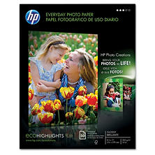 HP Everyday Photo Paper, Glossy, 8 1/2 x 11, 50 Sheets/Pack