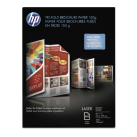 HP Tri-Fold Laser Brochure Paper, 40lb, 97 Bright, 8 1/2 x 11, White, 150 Sheets
