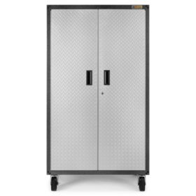 Gladiator 36-inch Ready to Assemble Steel Rolling Garage Cabinet in Silver Tread