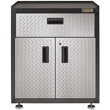 Gladiator 28-inch Ready-to-Assemble Steel 2-Door Freestanding Garage Cabinet with Drawer in Silver Tread