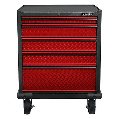 Gladiator 28-inch Premier Series Pre-Assembled Steel 5-Drawer Rolling Garage Cabinet in Racing Red Tread