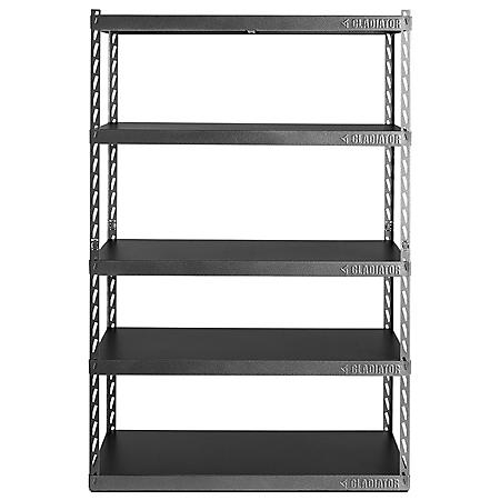 """Gladiator 48"""" Wide EZ Connect Rack with Five 24"""" Deep Shelves"""