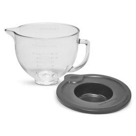 5-Quart Tilt-Head Glass Bowl with Measurement Markings and Lid