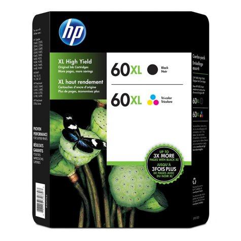 HP 60XL, 2-pack High Yield Black/Tri-color Original Ink Cartridges