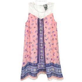 Pink & Violet Girls' Print Chiffon Dress With Necklace