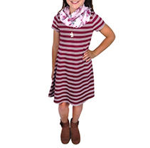 Burgundy Stripe 7/8 3-PC Dress Set