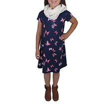 Blue Butterfly 7/8 3-PC Dress Set