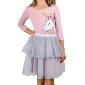 Pink & Violet  Girls' Top and Tutu Skirt Set