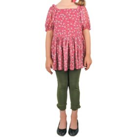 Pink & Violet Girls' Tunic and Legging Set