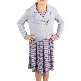Pink & Violet Girls' Dress With Jacket