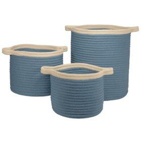 Colonial Mills Blue Banded Basket, Set of 3