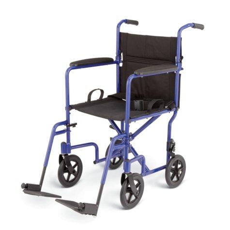 Deluxe Lightweight Aluminum Transport Wheelchair - Blue