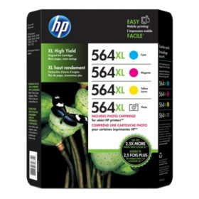 HP 564XL High Yield Original Ink Photo Cartridges, Combo Pack, 4 Pack, 750 Page Yield