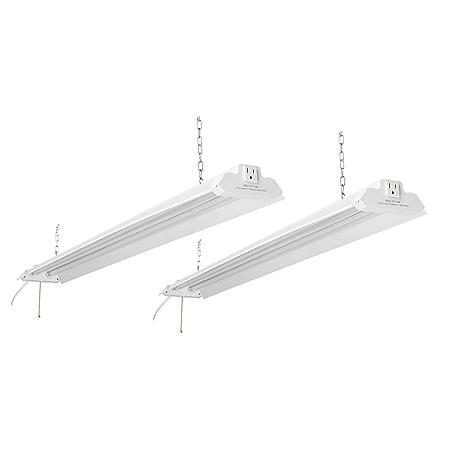 Honeywell 5000 Lumen 4' LED Metal Shop Light (2-Pack, White Finish)