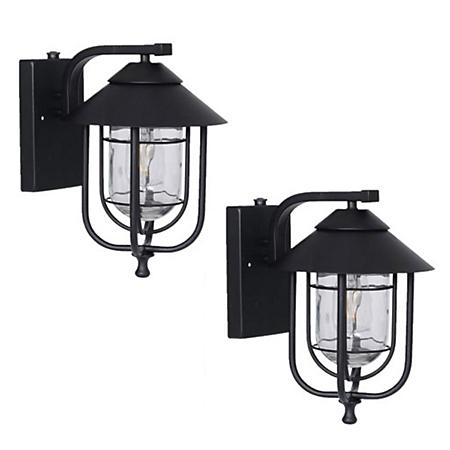 Honeywell 800 Lumen Wall Lantern with LED Vintage Filament Bulb (2-Pack)
