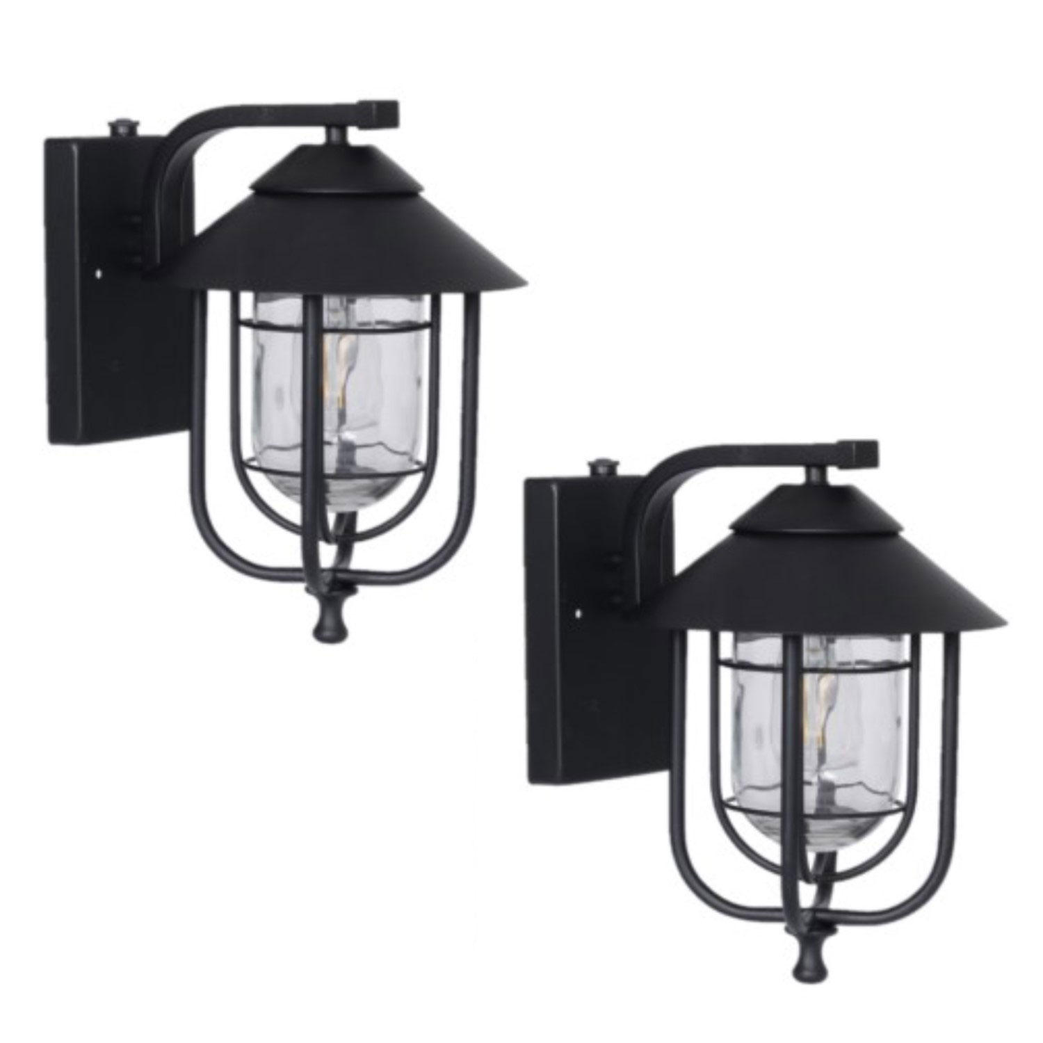 2-Pack Honeywell 800 Lumen Wall Lantern with LED Vintage Filament Bulb