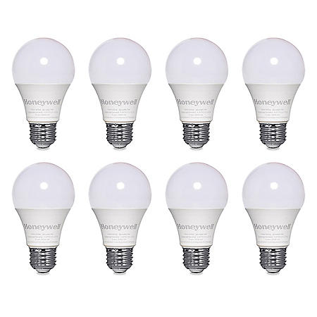 Honeywell 800 Lumen A19 LED Light Bulbs - Non-Dimmable, Warm White (8-Pack)