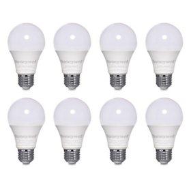 Honeywell 800 Lumen A19 LED Light Bulbs - Non-Dimmable, Natural White (8-Pack)
