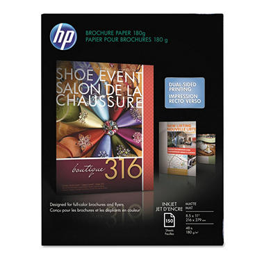 HP Inkjet Brochure/Flyer Paper, 48lb, 103 Bright, 8 1/2 x 11, White, 150 Sheets