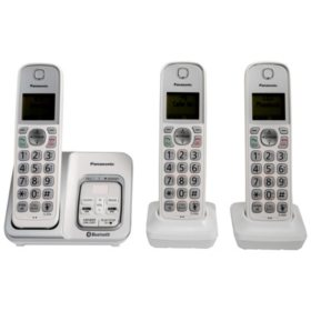 Panasonic Link2cell Bluetooth Cordless Phone With Voice Assist And Answering Machine Includes 3 Handsets Sam S Club