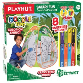 Playhut Doodle Tents Jungle Fun Color-On Pop-Up Play Tent - Color-on Fabric, 8 Markers Included - Creative Play - Ages 3+