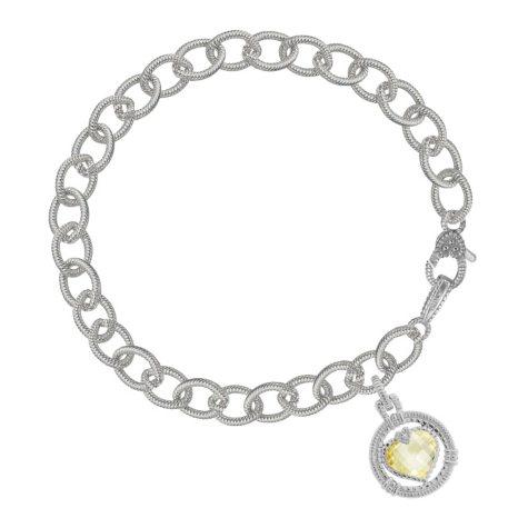Judith Ripka Athena Canary Crystal Heart Drop Bracelet