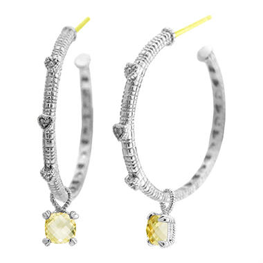 Judith Ripka Cushion-Cut Canary Crystal & White Sapphire Hoops