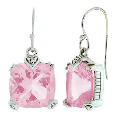 Judith Ripka Cushion-Cut Pink Crystal Earrings