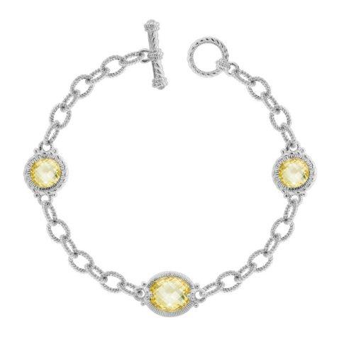 Judith Ripka Three Stone Link Bracelet with Canary Crystal
