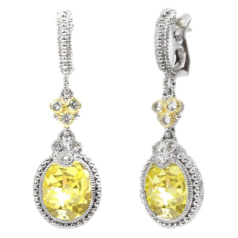 Judith Ripka's Estate Drop Oval Canary Crystal Earrings Set in Sterling Silver