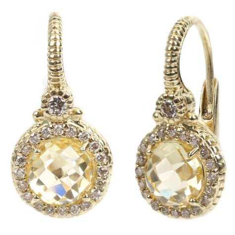 Judith Ripka Round Canary Crystal and Diamond Earrings in 14k Yellow Gold