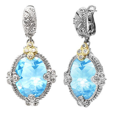 Judith Ripka's Estate Large Oval Blue Topaz Earrings in Sterling Silver