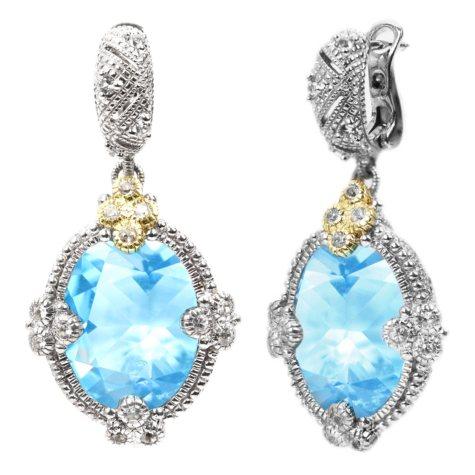 Judith Ripka's Estate Large Oval Blue Topaz Earrings in Sterling Silver