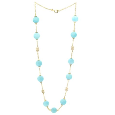 Judith Ripka Aquamarine Bead and Diamond Necklace in 18K Yellow Gold