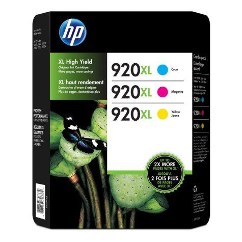 HP 920XL, 3-pack High Yield Cyan/Magenta/Yellow Original Ink Cartridges