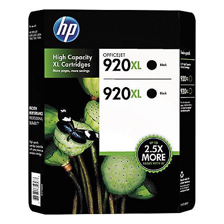 HP 920XL High Yield Original Ink Cartridge, Black (2 pk., 1,200 Page Yield)