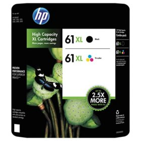 HP 61XL High Yield Original Ink Cartridge, Black/Tri-Color, 2 Pack, 480 Page Yield