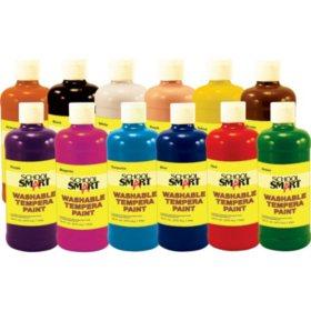 School Smart Washable Tempera Paint Set, 1 Pint Plastic Bottle, Assorted Color, Set of 12