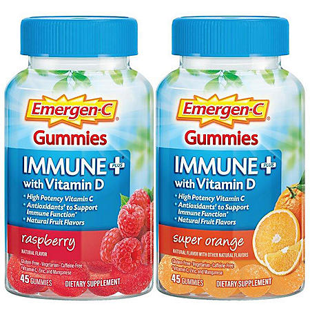 Emergen-C Immune+ Gummies, Raspberry and Super Orange (45 ct., 2 pk.)