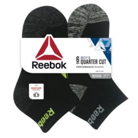 Reebok 6-Pack Boys Cushion Quarter Cut Socks