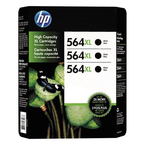 HP 564XL High Yield Original Ink Cartridge, Black (3 pk., 550 Page Yield)