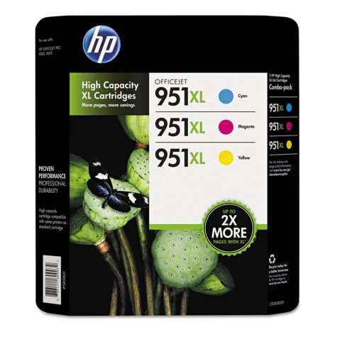 HP 951XL High Yield Original Ink Cartridge, Cyan/Magenta/Yellow (3 pk., 1,500 Page Yield)