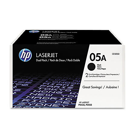 HP 05A Original Laser Jet Toner Cartridge, Black (2,300 Page Yield) - 2 Pack